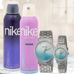 Remarkable Sonata Analog Couple Watch N Nike Dual Deo Set to Abohar