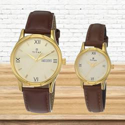 Wonderful Titan Analog Gold Pair Watch to Alapuzha