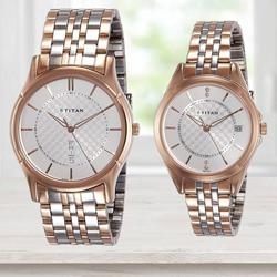 Exclusive Titan Analog Silver Dial Couples Watch to Allasandra
