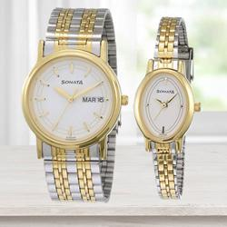Exclusive Sonata Analog Silver Dial Pair Watch to Abohar