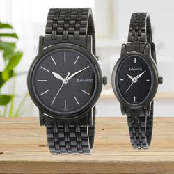 Outstanding Sonata Analog Black Dial Couple Watch to Allasandra