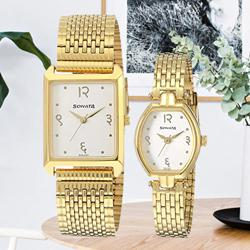 Wonderful Analog Gold Dial Couple Watch from Sonata to Adoni