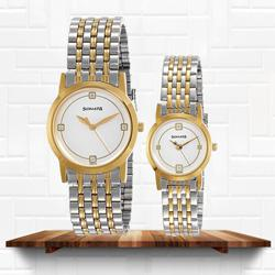 Stunning Sonata Analog Multi-Color Dial Couple Watch to Abohar