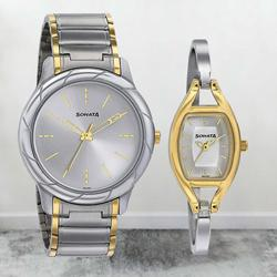 Outstanding Sonata Analog Silver Dial Pair Watch to Allahabad