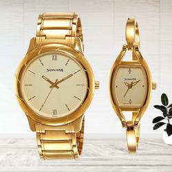 Beautiful Sonata Analog Beige Dial Couple Watch to Aligarh