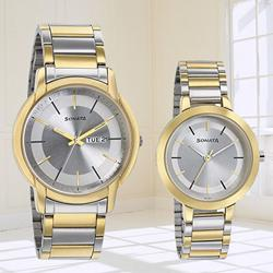 Amazing Sonata Analog Silver Dial Pair Watch to Ahmedgarh