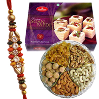 Rakhis,Soan Papri with Assorted Dry Fruits  to Rakhi_to_world.asp
