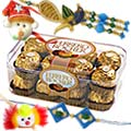 Bhaiya Bhabhi Rakhi and 2 Kids rakhi with 12 pcs Ferrero Rocher Chocolate to Rakhi_to_canada.asp