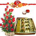 Alluring sweet collection of Roses and Sweets along with Free Rakhi, Roli Tika and Chawal to Bangalore