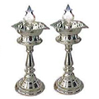 Puja Items - Silver Plated Lamp Set to India