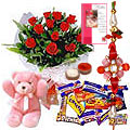 Graceful Teddy, Rose bunch and Chocolates along with Free Rakhi, Roli Tika and Chawal to Bangalore