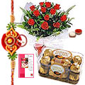 Celebration with Rochers and Roses along with Free Rakhi, Roli Tika and Chawal to Tumkur