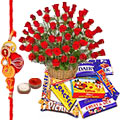Lovely Cadburys with Red Roses and Free Rakhi, Roli Tika and Chawal to Tumkur