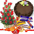 Free Rakhi, Roli Tika and Chawal with Sweet Cake, Rose bunch and Chocolates to Gurgaon