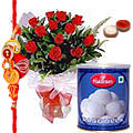 Delicious Rasgullas and Roses with Free Rakhi, Roli Tika and Chawal to Bangalore