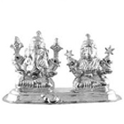 Divine looking silver plated Laxmi Ganesh idol to India