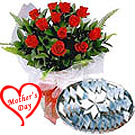 Kaju Katli with Dozen Red Roses Bouquet to Hyderabad