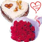 Dozen Red Roses Bunch n Heart Shaped Cake to Hyderabad