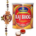 Relish with 1 Kg. Raj Bhog from Haldiram and Free Rakhi, Roli Tilak and Chawal   to India