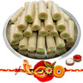 Mouth Watering Kaju Pista Roll from Haldiram with 1 Free Rakhi, Roli Tilak and Chawal  to India