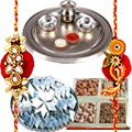 Special Silver Plated Thali with Haldiram Kaju Katli and Dry Fruits with Free Rakhi, Roli Tilak and Chawal to India