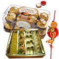 Super delicious Rakhi hamper with Haldiram Assorted sweets, Ferrero Rocher with a free Rakhi, Roli Tilak and Chawal to India