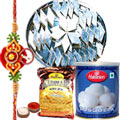 Exclusive sweet hamper from Halldiram with a free Rakhi, Roli tika and Chawal to India
