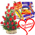 15 Exclusive Red Dutch Roses Basket with Cadburys Assorted Chocolates to Yamunanagar